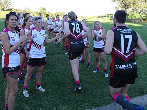 The MUAFC Girls entering the AFL field